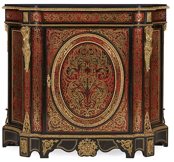 NAPOLEON III BRASS, TORTOISESHELL, AND EBONISED BOULLE MARQUETRY SIDE CABINET